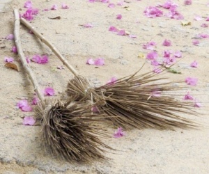 two-brooms-and-pink-flowers-on-dirt